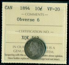 1894 Obverse #6, Canada Queen Victoria Ten Cent ICCS VF-20
