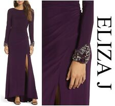 ELIZA J  SEXY BEADED SLEEVE RUCHED JERSEY GOWN  EVENING DRESS  Sz 10  NWT  $ 188