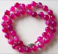 10MM ANTIQUE ART DECO GENUINE RARE PINK CHALCEDONY AGATE BEADS NECKLACE