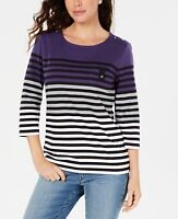 Karen Scott Petite Womens Striped Color Blocked Top Cassis Size Petite Extra ...