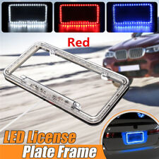 Acrylic Plastic Car Rear License Plate Cover Frame with 54 LED Lighting 12V Red