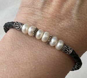 Sterling Silver Etruscan Style Freshwater Pearl Braided Black Leather Bracelet