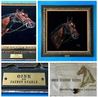 """GWEN REARDON MARINO 1963 Stakes Horse Portrait Painting """"Oink"""" JACNOT STABLE USA"""