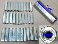 "Lot of 30 Nut Zinc – 1/4"" X 1-3/4"" long Hex Coupling Nut with Zinc Plate"