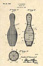 Official Bowling Pin US Patent Art Print - Vintage 1939 Original - Antique 190