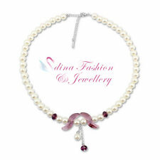 18K White Gold Plated Made With Swarovski Crystal & Pearl Purple Necklace