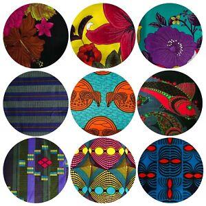African Wax Printed Cotton Fabrics Ankara Cloth Vibrant Colours 1 - 6 Yards