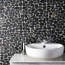Cut down sample of black flat riverstone pebble mosaic wall & floor tile