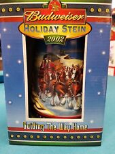 2002  Anheuser Busch  AB  Budweiser Holiday Christmas Beer Stein Clydesdales NIB