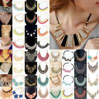 Fashion Charm Women's Chunky Choker Bid Statement Crystal Resin Collar Necklace