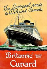 Art Ad BRITANNIC  CUNARD Liverpool Route  Travel  Deco  Poster Print