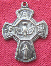 Vintage Catholic Religious Holy Medal - CHAPEL STERLING SCAPULAR CROSS - DOVE