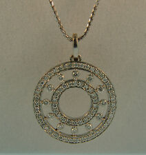 14K WG Diamond Large Double Circle Pendant-2.18ctw