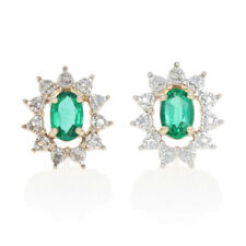 1.00ctw Oval Synthetic Emerald Earrings - 10k Gold Diamond Accents Halo Studs