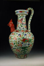 Large Five-colored Porcelain Ewer With Cock-head Spout Design And Phoenix