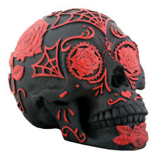 DOD Red and Black Sugar Skull Figurine Statue
