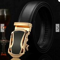 Luxury Mens Automatic Buckle Genuine Leather Ratchet Belt Waistband Waist Strap