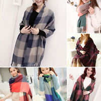 Ladies Winter Scarf Wrap Stole Plaid Pashmina Long Soft Neck Shawl Windproof