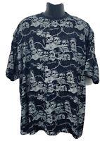 Avirex Mens Legendary Graphic T Shirt Black Skulls Silver Sparkles Sz 3XL XXXL