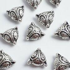 2pcs Chunky Fox 3d Metal Novelty Animal Beads Antique Silver 13mm - B0106850