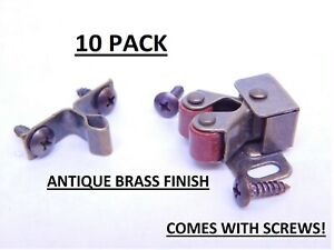 10 Pack! Double Roller Cabinet Door Catch Latch Antique Brass RV Boat Screws