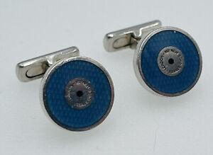 Asprey Vintage Sterling Silver Blue Enamel Guilloche Cufflinks