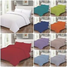 Plain Dyed Duvet Quilt Cover With Pillowcase Bedding Set Single Double King Size