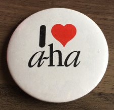 I LOVE A-HA LARGE BUTTON BADGE Norwegian Pop Band - Cry Wolf 54mm Pin 80s