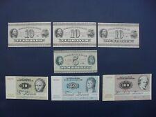 7No. DENMARK 5/10/50/100 KRONER BANKNOTE COLLECTION CIRCA VF
