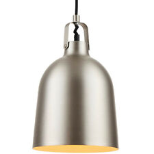 Hanging Ceiling Pendant Light–MATT NICKEL Shade–Industrial Metal Sleek Lamp Bulb