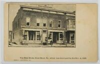 PA Great Bend Van Ness Block, Photographer Shop Destroyed Fire 1905 Postcard M9