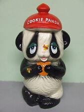 """Vintage """"Cookie Panda"""" Bear w/Red Hat, Cookie & Bees Cookie Jar (Japan)"""