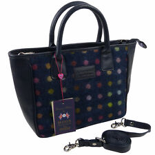 Ladies Leather & British Tweed Grab Bag by Mala; Abertweed Collection Handbag-Na