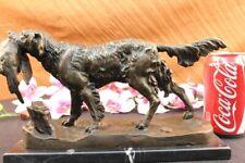 Pointer Hunting Bird Dog Bronze Marble Sculpture Signed Lost Wax Method Figurine