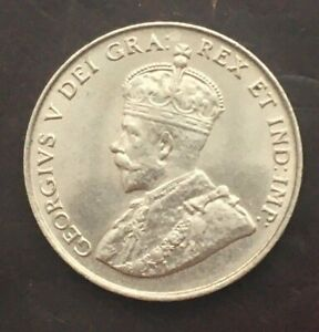 1922 5¢ Canadian Nickel Coin Nice Condition AU+ KM#29 Canada 5c George V