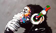CANVAS BANKSY STREET ART PRINT DJ MONKEY CHIMP PAINTING AUSTRALIA URBAN