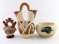 Vintage Lot of 3 Southwestern Pottery Pieces 2 Wedding Vases 1 Bowl Kopa Signed
