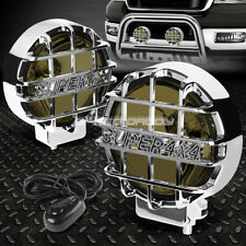 "6""ROUND CHROME HOUSING SMOKED FOG LIGHT/OFFROAD SUPER 4X4 GUARD WORK LAMP+SWITCH"