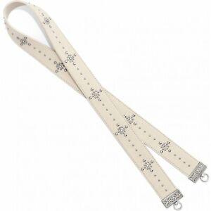 NWT Brighton PRETTY GLAM Long Cross Body Strap Off White Silver Studs MSRP $70