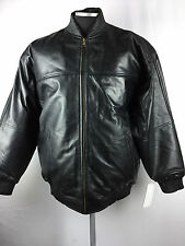 MENS GENUINE LAMBSKIN LEATHER BASEBALL JACKET BOMBER BLACK M L XL 2X 3X 4X 5X 6X