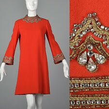 M 1960s Loose Wool Dress Bell Sleeve Bright Red Winter Autumn Simple Vintage 60s