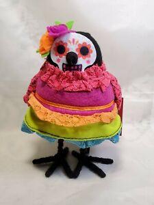 "Day Of The Dead AMOROSA Fabric Bird ""Dia De Muertos"" Figurine New 2020 Halloween"