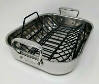 "NEW All-Clad Stainless Steel Roasting Pan with Inner Rack 11""x 14"" E752S264"