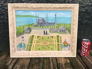 Blue Mosque Istanbul Turkey primitive naive folk art painting by Clo Scheele.