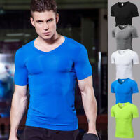 Mens Athletic Fitness T-shirt Compression V Neck Gym Training Tops Short Sleeves