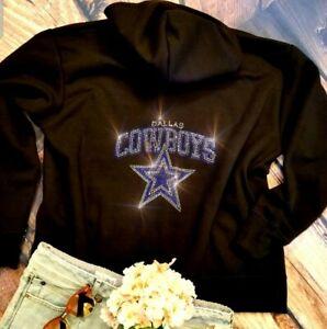New  Dallas Cowboys Unisex Zip Up Womens Rhinestone Jacket Hoodie  sz Small