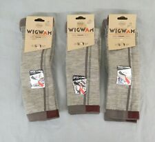 (3) Pairs Wigwam Rebel Fusion Crew II Merino Blend Sock & Liner Size Large NEW