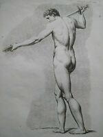 Rare gravure XVIIIème étude guerrier nu cahier académie homme Bonnet