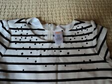 Girls Gymboree White with Black Stripes Pleated Dress Size 10 ~ Cap sleeve ~