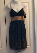 Teal Cocktail Dress w/ Gold Accents and Bow - Size M - Made in USA! Washable!